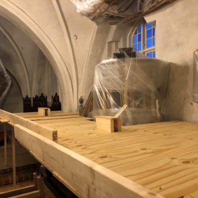 Billede fra renovering af Hvalsø Kirke i 2020