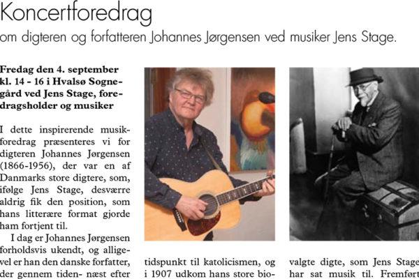 Billede med reklame for koncertforedrag med Jens Stage